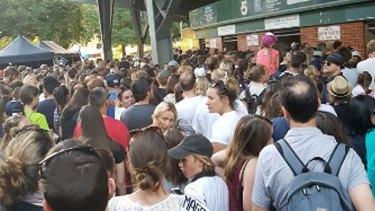 Crowds gather outside Ikon Park.