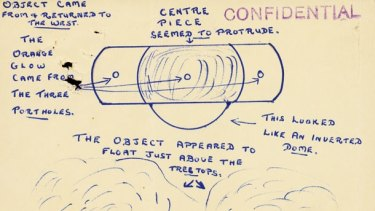 A UFO report held by the National Archives of Australia.