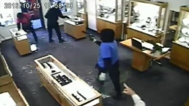 These thieves stormed a jewellery store on Toorak Road in October last year.