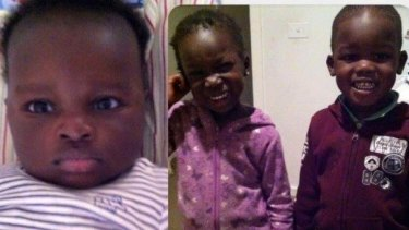 Bol, 1, left, Hanger, 4, centre and her twin brother Madit, right, were killed when their mother's car crashed into the lake.