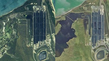 Satellite images of the Abbot Point coal terminal and neighbouring wetlands. Before Cyclone Debbie on the left and post-cyclone on the right.