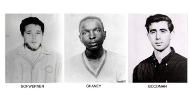 Civil rights workers Michael Schwerner, James Chaney and Andrew Goodman, who disappeared near Philadelphia.