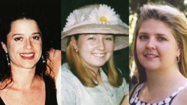 Claremont victims Ciara Glennon (left) and Jane Rimmer (right). Investigation into the disappearance of Sarah Spiers (middle) is ongoing.