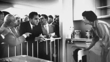 A better future: US Vice-President Richard Nixon and Soviet leaders Nikita Khrushchev  (to Nixon's left, pointing) and Leonid Brezhnev (to Nixon's right) view a model kitchen at the American National Exhibition in Moscow in 1959.