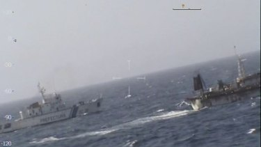 The Lu Yan Yuan Yu 010, right, was sunk by the Argentinian coast guard, left, after it was found fishing illegally.