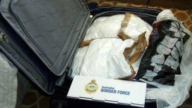 A suitcase found in Isabelle Lagace's cabin containing 30 individually wrapped packages of pure cocaine, each weighing about one kilogram.