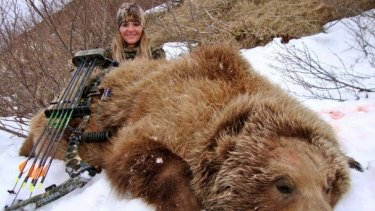 Rebecca Francis, in a picture from her Facebook page, of a bear she shot.