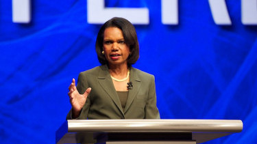 Dr Condoleezza Rice, seen here speaking at computer security conference RSA 2013, has been appointed to the Dropbox board.