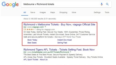 Viagogo often appears at the top of Google searches because it pays for Google Ads.