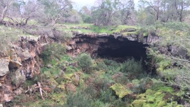 A cave in a protected area of the lava flow.