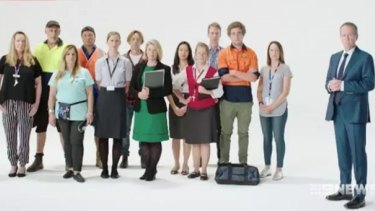"""Bill Shorten appears in front of a largely white cast in an ad urging people to """"employ Australians first""""."""