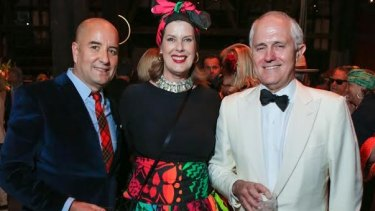 Architect Randal Marsh, Deborah Thomas and Malcolm Turnbull at the Sydney Dance Company's annual Dance Noir party.