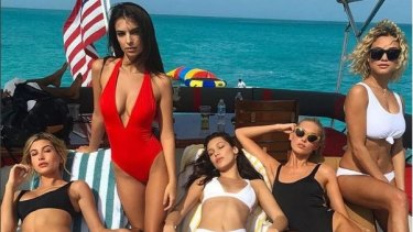 Model Rose Bertam, pictured with fellow models including Bella Hadid and Emily Ratajkowski, promoting Fyre Festival on Instagram.