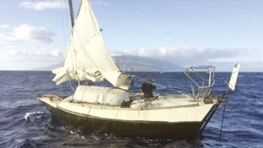 Kris Larsen's boat, the Kehaar Darwin, off the Hawaiian coast.