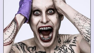 Crazy for Joker: Jared Leto looking literally insane as the Clown Prince of Crime in the upcoming <i>Suicide Squad</i> movie.