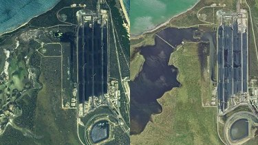 Satellite images of the Abbot Point coal terminal and neighbouring wetlands. Before Cyclone Debbie, on the left, and post-cyclone, right.
