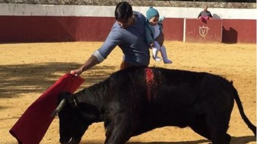 Bullfighter Francisco Rivera with his daughter Carmen at work.