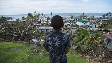 One of the Basaga children after the devastation of Cyclone Winston.