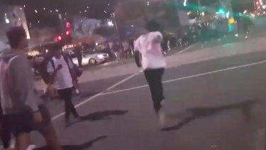 Apex gang members rioting outside Flinders Street station last March