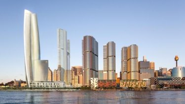 Crown's Barangaroo hotel proposed for Sydney, designed by Wilkinson Eyre Architects.