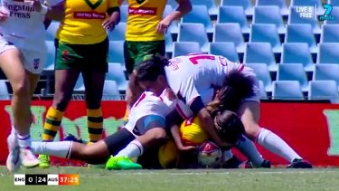 Under scrutiny: The tackle on Isabelle Kelly by Chantelle Crowl that resulted in a biting allegation.