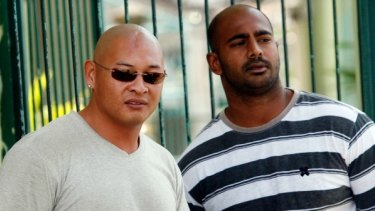 Australian Andrew Chan and Myuran Sukumaran  seen during the Indonesian independence day celebration inside the Kerobokan prison in Bali, Indonesia on 17 August 2011.