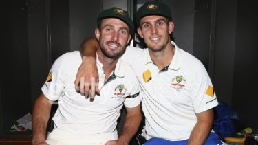 Brothers in arms: Shaun and Mitch Marsh helped Australia over the line.