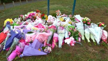 A floral tribute laid at the scene of Masa Vukotic's death.
