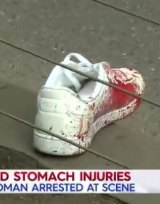 A bloodied shoe at the scene of the stabbing.