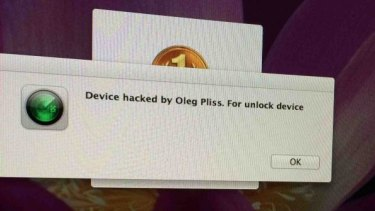 What part of the hacker's message looks like on an iMac screen.