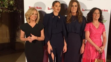 The panel: Helen McCabe, Jesinta Campbell, Peta Credlin and Annabel Crabb on the Women of the Future red carpet.