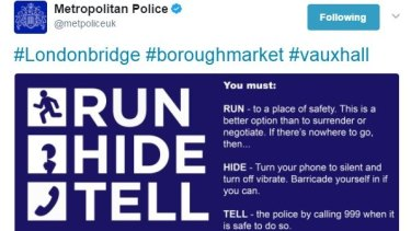 Metropolitan Police advice to Londoners after the terror attacks.