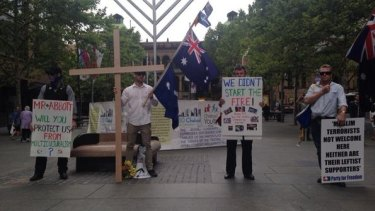 Anti-Islamic protesters at Martin Place on Friday afternoon.