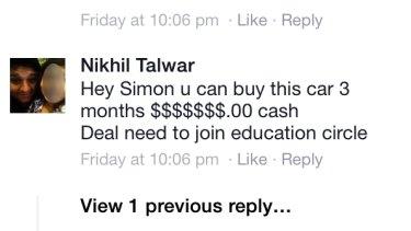 Nikhil Talwar's Facebook page.