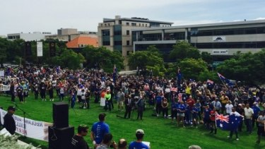 Anti-Islam marchers at the Reclaim Australia rally held in Perth in April.