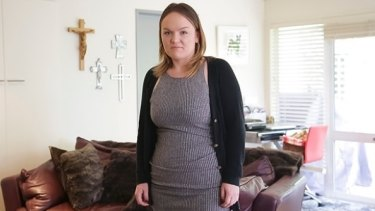 Grethe Andersen says she feels self-conscious after a Jetstar attendant asked her if she was 28 weeks pregnant.
