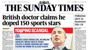 The Sunday Times front page.