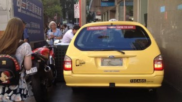 The taxi went off-road in Little Bourke Street on Thursday afternoon.