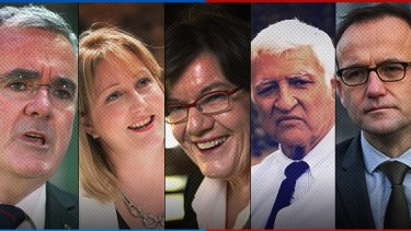 The five crossbenchers who could decide our next government: Andrew Wilkie, Rebekha Sharkie, Cathy McGowan, Bob Katter, Adam Bandt.