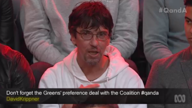 'If you lift my tax-free threshold, that changes my life': Duncan Storrar challenging Liberal minister Kelly O'Dwyer on <i>Q&A</i>.