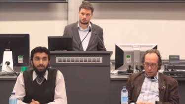 Mr Kunde, pictured at an ANU lecture with Uthman Badar (left) and Lawrence Krauss (right) in 2012, has resigned as Labor's candidate for Farrer.