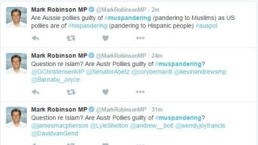 "A screenshot of Mark Robinson's ""Muspandering"" tweets."