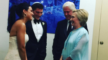Hilary and her caftan at the wedding of Sophie Lasry to 25-year-old Alexander Swieca.