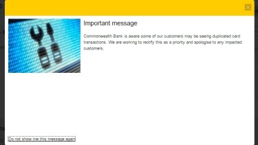 The error message greeting Commonwealth Bank customers.