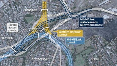 Previously disclosed plans for surface motorway interchange at Rozelle. It is understood a larger proportion of that interchange will be underground.