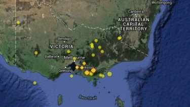 The sites of Victoria's earthquakes over the past 114 years.
