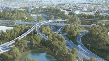 An artist impression of the WestConnex St Peters interchange.
