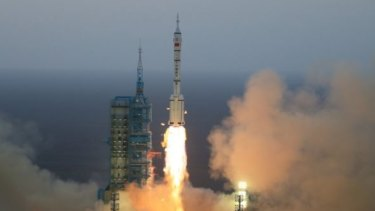 Lift off for the Chinese space craft headed for the Tiangong-2 orbiting space station.