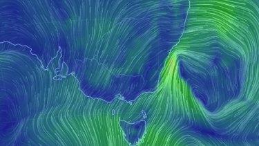 Winds strongest near the coast as the east coast low drifts eastwards.