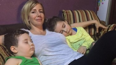 Sally Faulkner with children Lahela, 6, and Noah, 4.